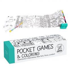 Voyagez à travers le monde avec ce jeu de poche city à colorier. 1 mètre de dessins rigolos à dérouler et à mettre en couleurs avec le crayon à 8 mines inclus dans la boite ...
