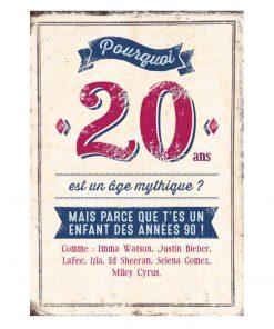 Une très belle double carte à remplir pour fêter l'anniversaire des 20 ans d'un proche né dans les années 90.