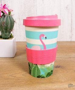 Ce mug à emporter flamant rose en fibre de bambou sera idéal pour boire une bonne boisson chaude où qu'on soit ! En plus d'être design