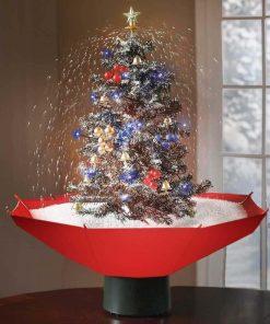 Un sapin de Noel qui souffle de la neige Équipé de guirlandes lumineuses Chante 25 mélodies de Noel