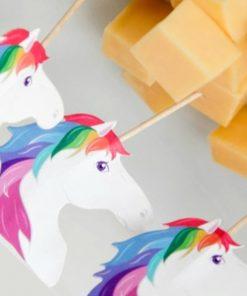 24 piques à tapas en boisCorne de de licorne transformée en cure-dentsAccessoire pour picorer avec couleurs