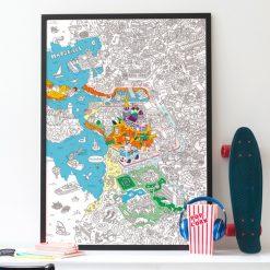 Gigantesque terrain de jeuCréez une déco uniqueGrand format de 100 x 70 cmFacile à encadrerFabriqué en France