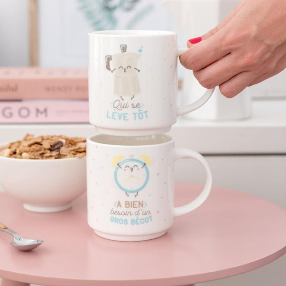 Cadeau De Noel Pour Couple.Set De Deux Mugs Emboîtables Pour Couple