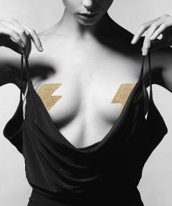Flash - Cache tétons Eclair dorés