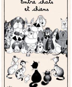 Torchon Dubout Entre Chats Et Chiens Ecru 48 X 72 Torchons & Bouchons