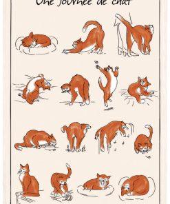 Torchon Imprime Journée de Chat Ecru 48 X 72 Torchons & Bouchons