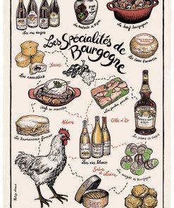 Torchon Imprime Specialités de Bourgogne Ecru 48 X 72 Torchons & Bouchons