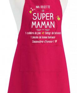 Tablier Ma recette de super maman Rose 90 x 72 Torchons & Bouchons