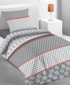 Parure de lit 1 personne Lisao avec housse de couette et taie d'oreiller Imprimée 140 x 200 Les Ateliers du Linge