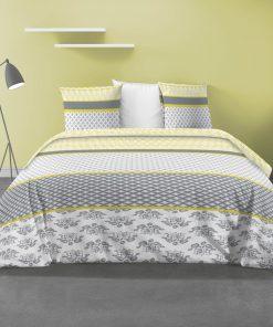 Parure de lit 2 personnes Eva avec housse de couette et taies d'oreiller Imprimée 260 x 240 Les Ateliers du Linge