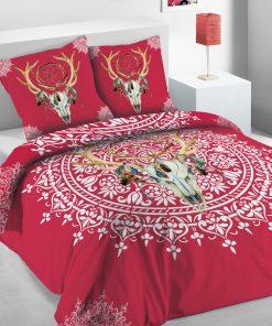 Parure de lit 2 personnes Pink Sioux avec housse de couette et taies d'oreiller Imprimée 240 x 220 Les Ateliers du Linge