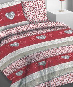 Parure de lit 2 personnes avec housse de couette et 2 taies d'oreiller Cosy Rouge 240 x 220