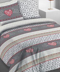 Parure de lit 2 personnes avec housse de couette et 2 taies d'oreiller Cosy Gris 260 x 240