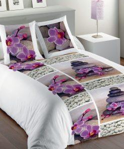 Parure de Lit 1 personne Zen Flower Imprime 140 X 200 avec housse de couette et taie(s) d'oreiller Les Ateliers du Linge