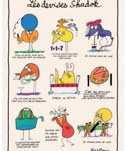 Torchon Shadoks Les devises Ecru 48 x 72 Torchons & Bouchons