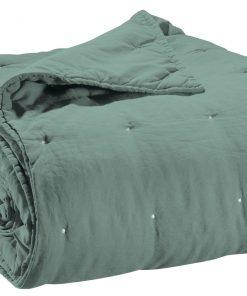 Jeté de lit stonewashed Zeff Vert de gris 240 x 260 Vivaraise