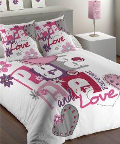 Parure de Lit 1 personne Peace&Love Imprimé 140 X 200 avec housse de couette et taie(s) d'oreiller Les Ateliers du Linge