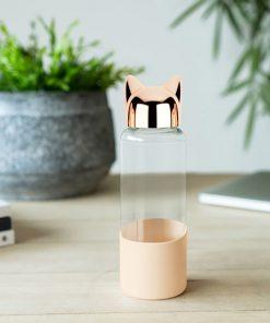 Buvez durant vos déplacements et trajets de transport avec cette bouteille en verre borosilicate et en silicone ! Facilement transportable dans un sac.