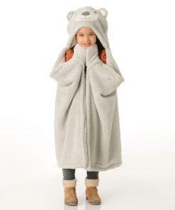 Contient une capuche et deux gants pour avoir chaud de partout ! Plaid doux en polyester !