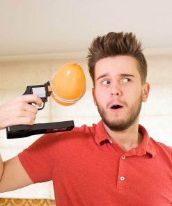 Chargez le pistolet avec un ballon gonflable et tirez sur la détente ! 12 ballons et 1 notice inclus.