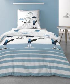 Parure de lit 1 personne avec housse de couette et 1 taie d'oreiller Valentin Imprimé 140 x 200 Les Ateliers du Linge