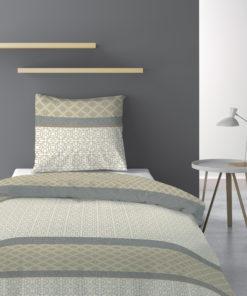 Parure de lit 1 personne avec housse de couette et 1 taie d'oreiller Sofra Naturel 140 x 200 Les Ateliers du Linge