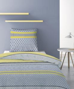 Parure de lit 1 personne avec housse de couette et 1 taie d'oreiller Vaxo Celeri 140 x 200 Les Ateliers du Linge