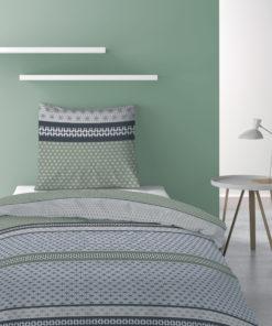 Parure de lit 1 personne avec housse de couette et 1 taie d'oreiller Vaxo Mousse 140 x 200 Les Ateliers du Linge