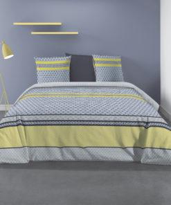 Parure de lit 2 personnes avec housse de couette et 2 taies d'oreiller Vaxo Celeri 240 x 260 Les Ateliers du Linge