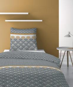 Parure de lit 1 personne avec housse de couette et 1 taie d'oreiller Balta Safran 140 x 200 Les Ateliers du Linge
