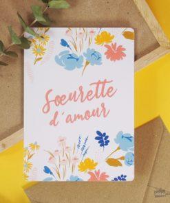 Carte idéale pour écrire un message d'amour à votre soeur d'amour. Enveloppe en kraft incluse.